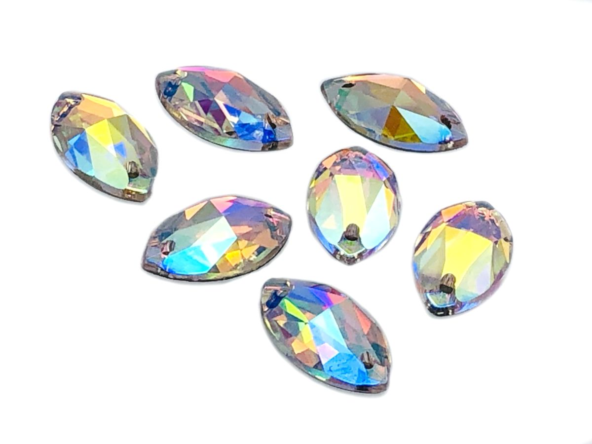 EIMASS® Sew or Glue on Resin Crystals Flat Back Triangle Shape Gems for Costume