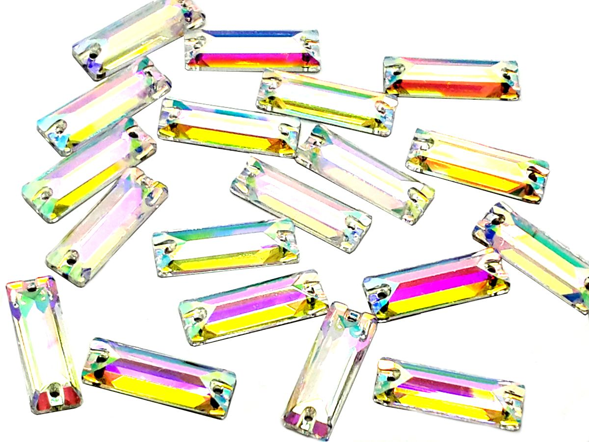 af7c2da4a7 Crystal AB Oblong, EIMASS® 3533 Sew on Glue on Cut Glass Flat Back Shapes,  Crystals